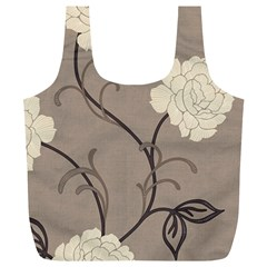 Flower Floral Black Grey Rose Full Print Recycle Bags (L)