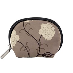 Flower Floral Black Grey Rose Accessory Pouches (Small)