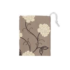Flower Floral Black Grey Rose Drawstring Pouches (Small)