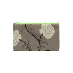Flower Floral Black Grey Rose Cosmetic Bag (XS)