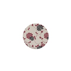 Flower Floral Black Pink 1  Mini Buttons