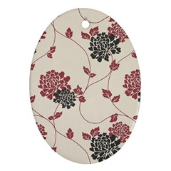 Flower Floral Black Pink Ornament (Oval)