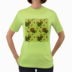 Flower Floral Black Pink Women s Green T-Shirt