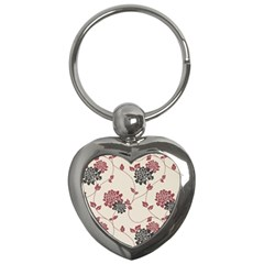 Flower Floral Black Pink Key Chains (Heart)