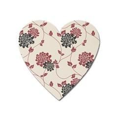 Flower Floral Black Pink Heart Magnet