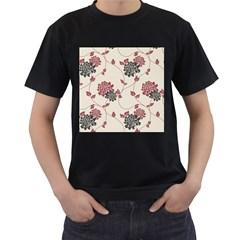 Flower Floral Black Pink Men s T-Shirt (Black) (Two Sided)