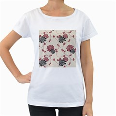 Flower Floral Black Pink Women s Loose-Fit T-Shirt (White)