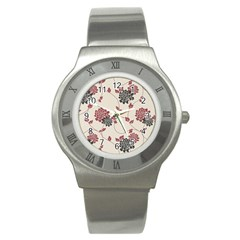 Flower Floral Black Pink Stainless Steel Watch
