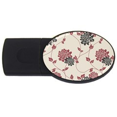 Flower Floral Black Pink USB Flash Drive Oval (4 GB)