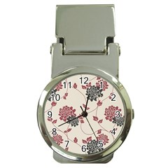 Flower Floral Black Pink Money Clip Watches