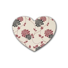 Flower Floral Black Pink Rubber Coaster (Heart)