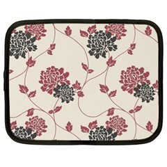 Flower Floral Black Pink Netbook Case (XL)