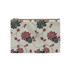 Flower Floral Black Pink Cosmetic Bag (Medium)