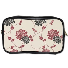 Flower Floral Black Pink Toiletries Bags 2-Side