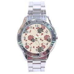 Flower Floral Black Pink Stainless Steel Analogue Watch