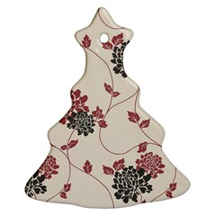 Flower Floral Black Pink Christmas Tree Ornament (Two Sides)