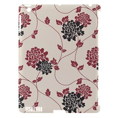 Flower Floral Black Pink Apple iPad 3/4 Hardshell Case (Compatible with Smart Cover)