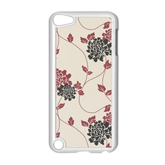 Flower Floral Black Pink Apple iPod Touch 5 Case (White)