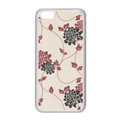 Flower Floral Black Pink Apple iPhone 5C Seamless Case (White)