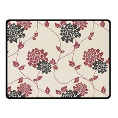 Flower Floral Black Pink Double Sided Fleece Blanket (Small)