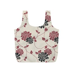 Flower Floral Black Pink Full Print Recycle Bags (s)