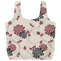 Flower Floral Black Pink Full Print Recycle Bags (L)