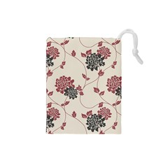 Flower Floral Black Pink Drawstring Pouches (Small)