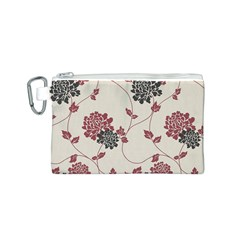 Flower Floral Black Pink Canvas Cosmetic Bag (S)