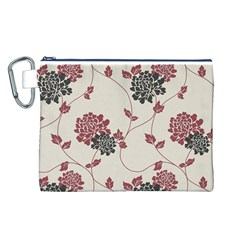 Flower Floral Black Pink Canvas Cosmetic Bag (L)