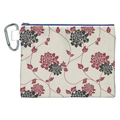 Flower Floral Black Pink Canvas Cosmetic Bag (XXL)
