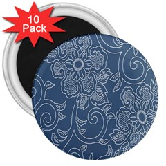 Flower Floral Blue Rose Star 3  Magnets (10 pack)