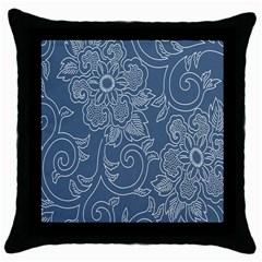 Flower Floral Blue Rose Star Throw Pillow Case (Black)