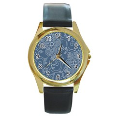 Flower Floral Blue Rose Star Round Gold Metal Watch