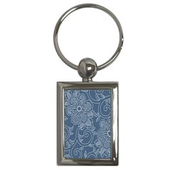 Flower Floral Blue Rose Star Key Chains (Rectangle)