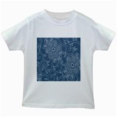 Flower Floral Blue Rose Star Kids White T-Shirts