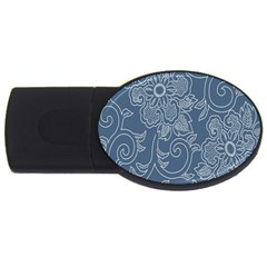 Flower Floral Blue Rose Star USB Flash Drive Oval (1 GB)