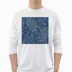 Flower Floral Blue Rose Star White Long Sleeve T-Shirts