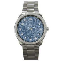 Flower Floral Blue Rose Star Sport Metal Watch