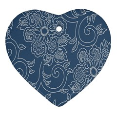 Flower Floral Blue Rose Star Heart Ornament (Two Sides)