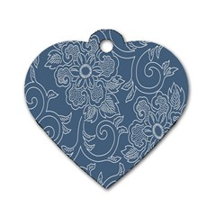 Flower Floral Blue Rose Star Dog Tag Heart (One Side)