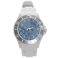 Flower Floral Blue Rose Star Round Plastic Sport Watch (L)