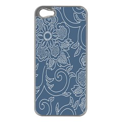 Flower Floral Blue Rose Star Apple iPhone 5 Case (Silver)