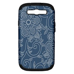 Flower Floral Blue Rose Star Samsung Galaxy S III Hardshell Case (PC+Silicone)