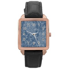 Flower Floral Blue Rose Star Rose Gold Leather Watch