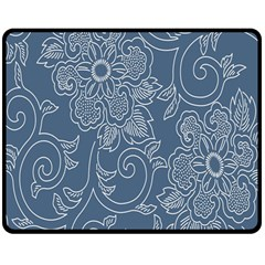 Flower Floral Blue Rose Star Double Sided Fleece Blanket (Medium)