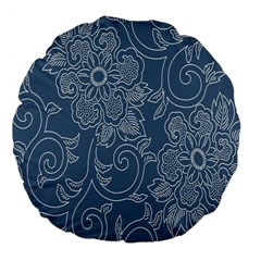 Flower Floral Blue Rose Star Large 18  Premium Flano Round Cushions