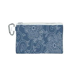 Flower Floral Blue Rose Star Canvas Cosmetic Bag (S)