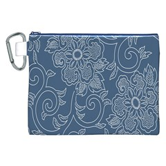 Flower Floral Blue Rose Star Canvas Cosmetic Bag (XXL)