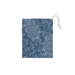 Flower Floral Blue Rose Star Drawstring Pouches (XS)