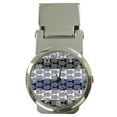 Digital Print Scrapbook Flower Leaf Colorgray Black Purple Blue Money Clip Watches